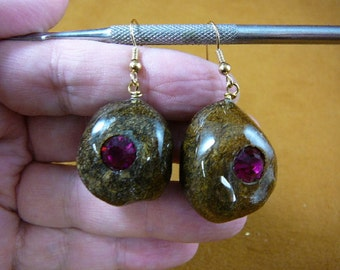 Real Moose POOP doo doo  turd bling Hot Pink rhinestone gold tone wire dangle Earrings jewelry Weird PP1-40