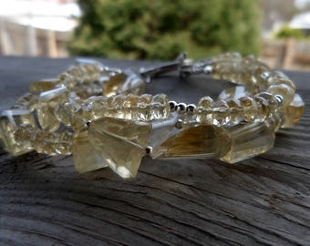 Triple Strand Natural Unheated Soft Citrine with Chunky Citrine and Fine Silver with Sterling Silver Birthstone Gemstone Bracelet