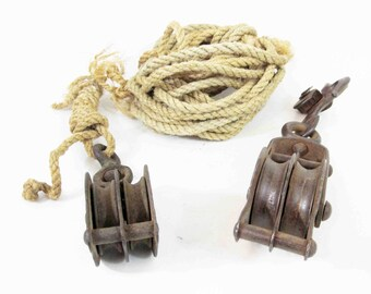 Vintage Cast Iron Block and Tackle with Rope. Circa 1930's.