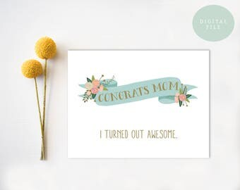 PRINTABLE Mother's Day Card  Funny Mothers Day Card  Inappropriate Mother's Day Card  INSTANT DOWNLOAD