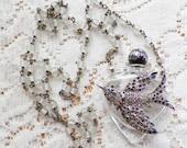 Vintage Rhinestone Bird Jewelry Embellished Vintage Small Perfume Bottle Necklace / Pendant, Rhinestones, Heart Shaped Bottle OOAK
