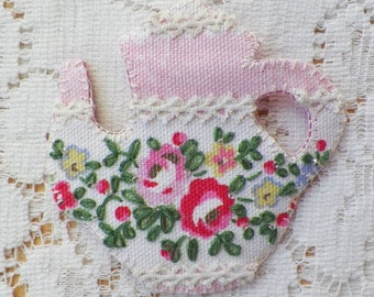 Handmade Teapot Shaped Pin / Brooch / Broach, Cath Kidston, Pink / Red Roses, Flowers, Floral, Vintage Lace, Glass Bead Accents, Embroidery