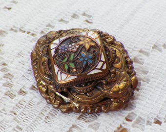 Vintage Victorian Style Embossed Four Layer Enamel Brooch / Pin / Broach, Floral / Flower / Flowers, Brass / Brassy Gold Tone Metal,