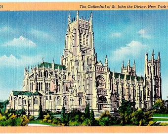 Vintage New York City Postcard - Cathedral Church of St. John the Divine (Unused)