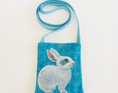 Forget-Me-Not Rabbit pocket purse - handpainted and handmade of upcycled fabric - one of a kind