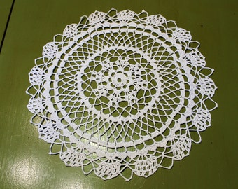 Large 14 Inch Vintage Round Crocheted Doily