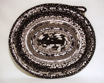 Handmade Black and White Coiled Fabric Candle Mat, Coiled Fabric Table Mat