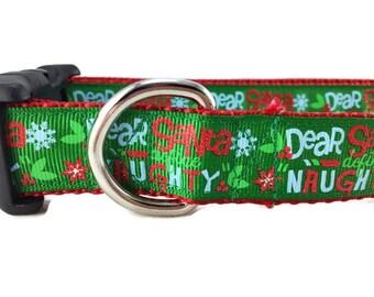 Christmas Dog Collar, Dear Santa, 1 inch wide, adjustable, quick release, metal buckle, chain, martingale, hybrid, nylon