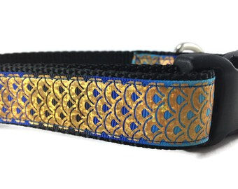 Dog Collar, Fish Scales, Mermaid, 1 inch wide, adjustable, quick release, metal buckle, chain, martingale, hybrid, nylon