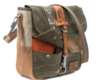 Canvas Messenger Bag, Recycled German Army Duffel, Crossbody Bag, Unisex Bag, Notebook, Recycled Leather Jacket  Upcycled in GERMANY - 2206