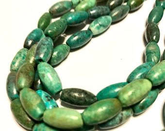 REAL TURQUOISE rice shaped beads full strand