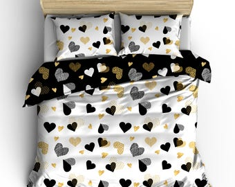 Custom Heart Zone Gold  Double Side Reversible Comforter , polyester sateen - Available Twin, Full/Queen, King Size SET, can be personalized
