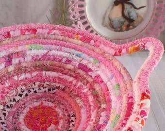 Pink Gypsy - Coiled Bohemian Basket, Bowl, Catchall - Handmade by Me