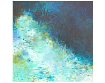 Large Abstract Impressionist Painting, Original Acrylic 36x36 Canvas, navy blue white turquoise green water, Jessica Torrant