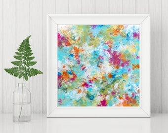 Abstract Expressionist Art Print - Abstract Printable - Square Abstract Print - Colorful Abstract - Modern Home Decor - Abstract Wall Art