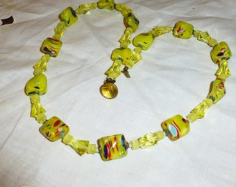 Vintage West Germany Art Glass Bead Necklace Yellow Glass Beads 1960s