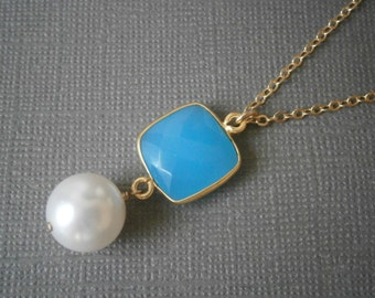 Long Pendant Necklace, Aqua Blue Necklace, Long Gold Necklace, Pearl Pendant, Best Friend Gift, PearWife Gift, Mother Gift