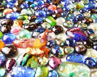 Lot of 136 Dichroic Fused Glass Beads Cabs Cabochons