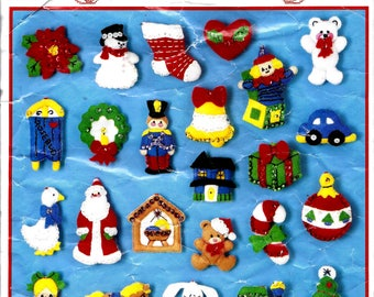 Vintage 1990 Bucilla Christmas Felt Ornaments, Kit 82840, Trim The Tree Collection of Felt, Sequin, and Embroidery Stuffed Ornaments, Opened