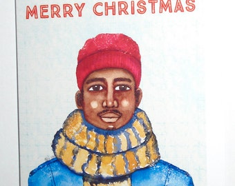 African American Christmas Card - Black Christmas Card - Male
