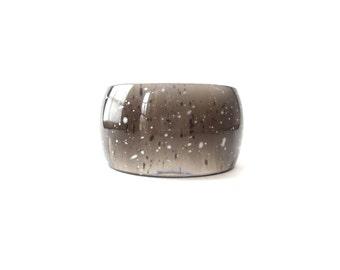 Chunky Vintage Black See Through & White Paint Splatter/Splattered Unmarked Lucite Bangle Bracelet