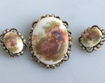 Cameo Brooch/Pendant Earring Set Victorian couple Frangonard Porcelain