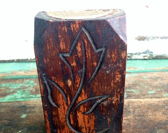 Carved Wood Plinth Molding Trim Carved Wheat flower Carved wood Block  Architectural Salvage