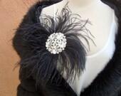 Vintage Fascinator Black Feather Clear Rhinestones Elegant Hat Hair Jewelry Clip