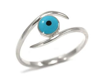 Evil eye ring - sterling silver - protection - Good luck