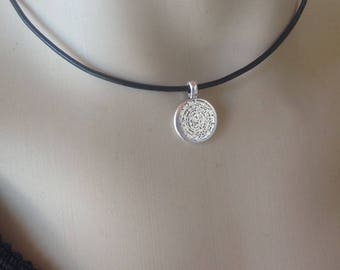 Minoan phaistos Disc necklace - Black leather - zamac - Greek jewelry - Gift for her or for him