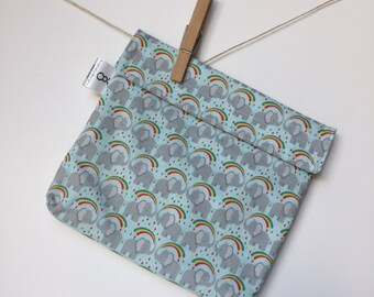Reusable eco friendly washable Sandwich - elephants with rainbows
