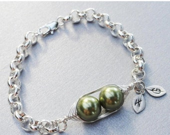 Christmas Sale Two Peas In A Pod Silver Bracelet - Personalized Hand stamped Bracelet