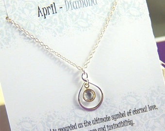Mothers Day Sale April Birthstone Necklace, Personalized infinity necklace, Diamond, birthstone jewelry, gift boxed necklace