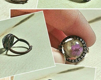 Unique pressed flower 14 mm Bezel ring.