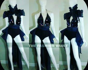 Sample sale complete set Bustle Burlesque skirt collar bolero wrap and sequin bodysuit  Steampunk Anime Cosplay Ringmaster