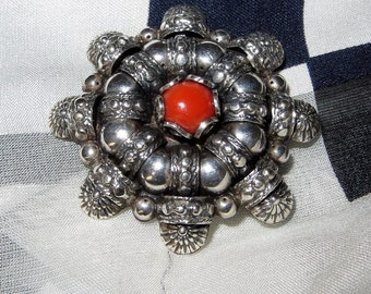 Jugendstil German Art Nouveau 800 Silver Brooch Pin Tromb