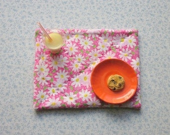 18 inch doll hand quilted pink daisys little girls pretend set of 2 place mats