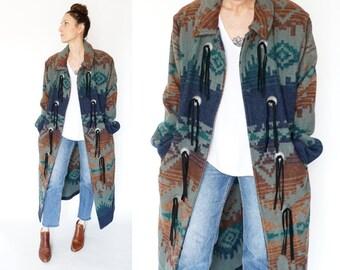 vintage WOOLRICH long SOUTHWESTERN blanket coat M-L