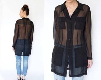 SPRING SALE vintage 90s MINIMALIST sheer black Tunic pocket top S-M