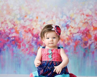What a Gem Girls Tribal Dress, navy and coral dress, baby dress, toddler dress, pink and blue dress by Melon Monkeys