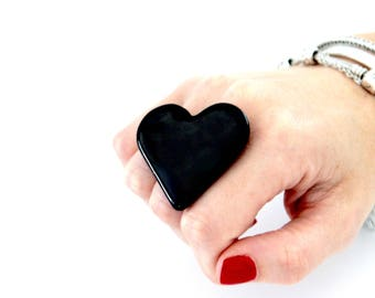 Black Heart, Ceramic Ring, Gift for Her  - ceramic jewelry,  adjustable ring, statement ring, cocktail ring - handmade ring by StudioLeanne