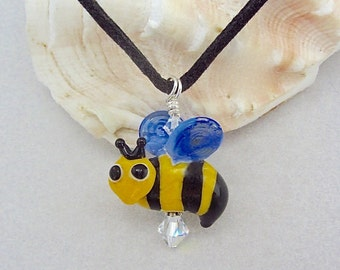 BumbleBee Necklace - Handmade Lampwork Bead Art - SRA