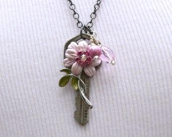 Pink Flower Pendant, Vintage Key Necklace, Vintage Pink Enamel Flower,Pink Freshwater Pearl, Gift for Her, Mother's Day Gift, Rustic Pendant