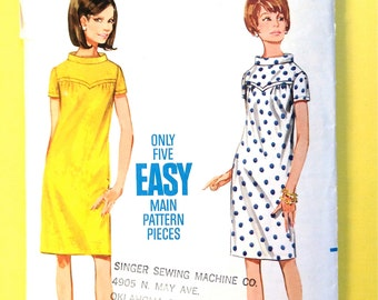 1960s Mod Misses' One-Piece Dress Butterick 4401 Vintage Sewing Pattern Bust 34 inches