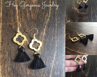 Gold quatrefoil tassel earrings- black tassel earrings- valentines gift