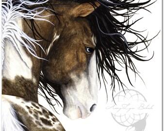 Majestic Horse Pintaloosa Paint Pinto - Fine ArT Prints/Canvas Prints by Bihrle mm140 Square