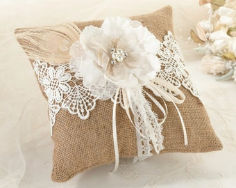 Burlap & Lace Ring Pillow wedding, ceremony accessories, Ivory