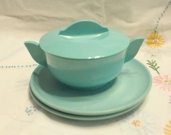 Turquoise Miramar Melmac Sugar Bowl with lid  2 Turquoise Desert Flower bread plates