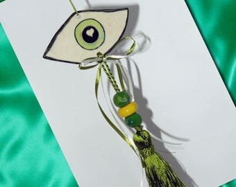 Handmade Ceramic Eye Charm 23cm  Love Eye - Green Eye Ornament - Ceramic Decoration for Good Luck - Home Decoration - Gift Wrap
