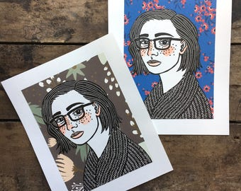 Gwendolyn   Relief Print Portrait of a Girl wearing Glasses